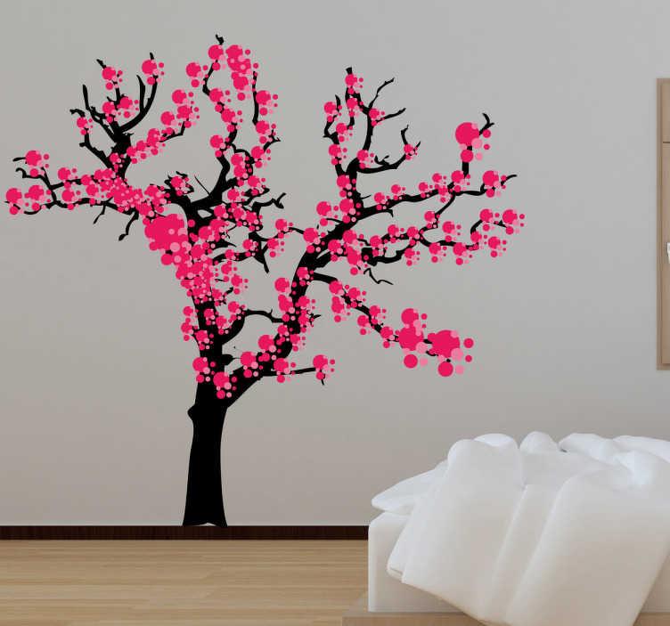 TenStickers. 봄 일본 나무 벽 스티커. 트리 벽 스티커 - 오리엔탈 꽃 벽 스티커 귀하의 집 또는 비즈니스를 장식합니다. 이 벚꽃 벽 스티커가있는 모든 객실에 자연의 아시아 터치를 제공하여 거실이나 침실에 자연과 색상을 만끽할 수 있습니다.