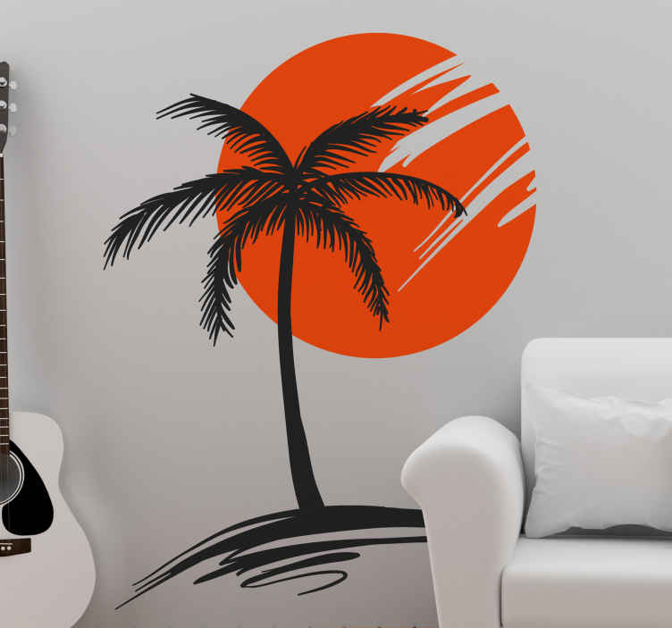 TenStickers. Palmový strom se štítkem západu slunce. Samolepka na stěnu, znázorňující palmový strom se západem slunce na pozadí! Díky této nálepce budete mít pocit, že jste na tropické pláži po celý rok!