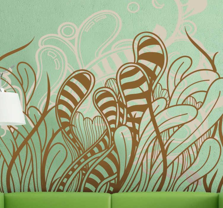 TenStickers. Sticker decorativo piante astratte. Adesivo decorativo di ispirazione floreale, che raffigura una fantasia di piante ondulanti.