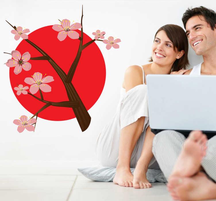 TenStickers. En kirsebær træ gren mur mærkat. Et klistermærke, der illustrerer en gren af et kirsebærtræ! Hvis du er fan af japan og orientalsk kultur, vil dette dekal være en perfekt udsmykning til din stue eller soveværelse!