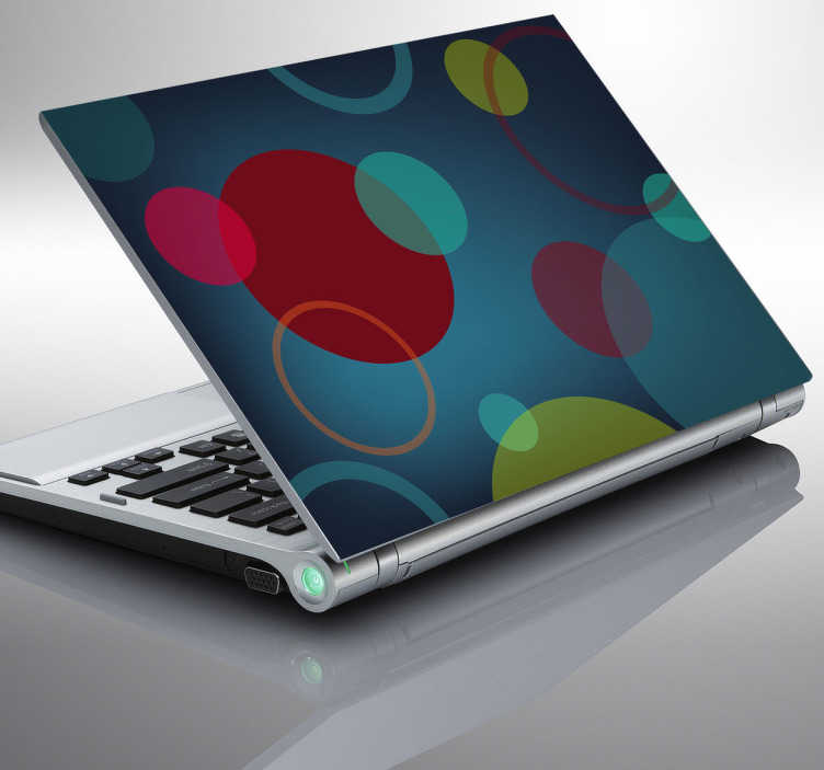 TenStickers. 원형 패턴 노트북 스티커. 원형 패턴 노트북 데칼입니다. 펑키 원형 패턴은 다양한 색상과 크기의 다양한 원을 보여줍니다. 우리의 노트북 스티커는 쉽게 적용 할 수 있고 제거시 잔류 물을 남기지 않습니다.