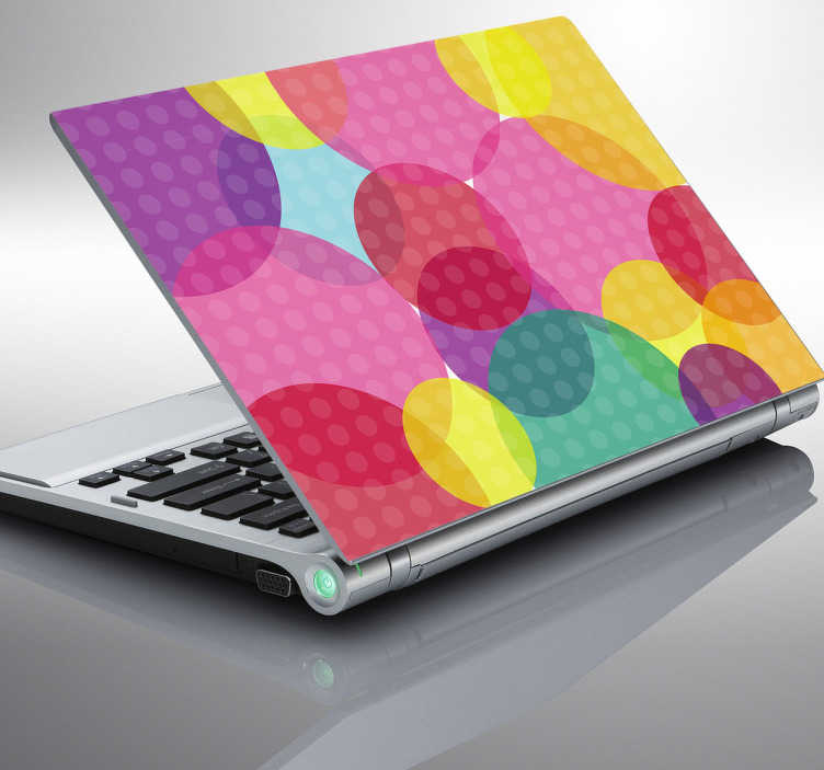 TenStickers. Multicoloured Circles Laptop Sticker. Personalise your laptop with this brilliant and colourful circle shapes sticker! This laptop skin is perfect for those looking to customise their device in a way that makes it unique to them.