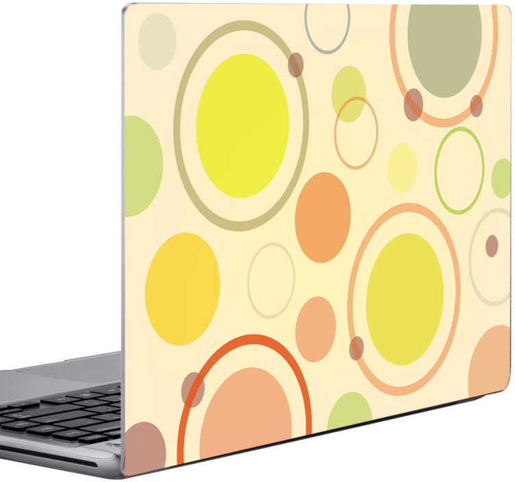 TenStickers. Sticker portátil círculos coloridos. Se quer ter um portátil a condizer com a decoração da sua sala, já não precisa de se preocupar mais pois temos a solução com este sticker portátil.