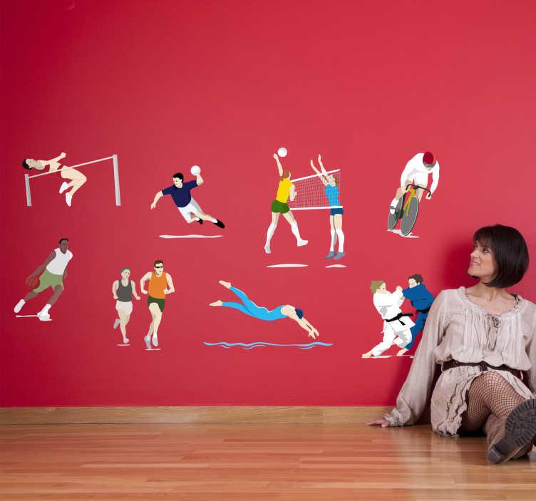 TenStickers. Stickers decorativi olimpiadi. Set di adesivi raffiguranti diverse discipline olimpioniche, quali: salto in alto, ciclismo, corsa, arti marziali, nuoto, etc.