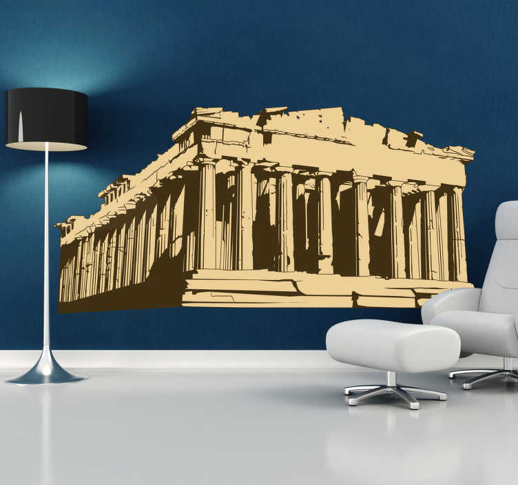 TenVinilo. Vinilo decorativo Partenón Grecia. Espectacular adhesivo con esta ruina clásica ateniense. Su estructura formada por numerosas columnas y que cada columna es vital para soportar el edificio. Hazte con este vinilo y lleva un trozo de la antigua grecia a tu hogar.