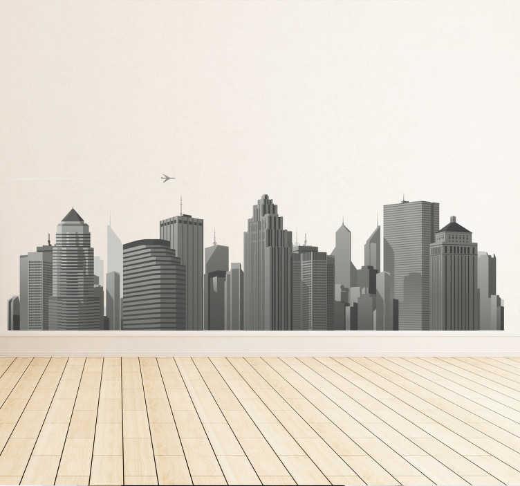 TenStickers. Sticker skyline wolkenkrabbers. Een leuke muursticker met de afbeelding van een grote stad met reusachtige wolkenkrabbers. Afmetingen aanpasbaar. Voordelig personaliseren.