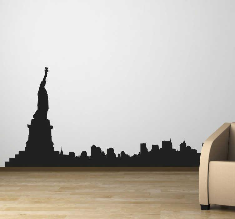 TenVinilo. vinilo decorativo skyline New York. Espectacular silueta adhesiva de esta ciudad americana con la estatua de la libertad en primer plano.