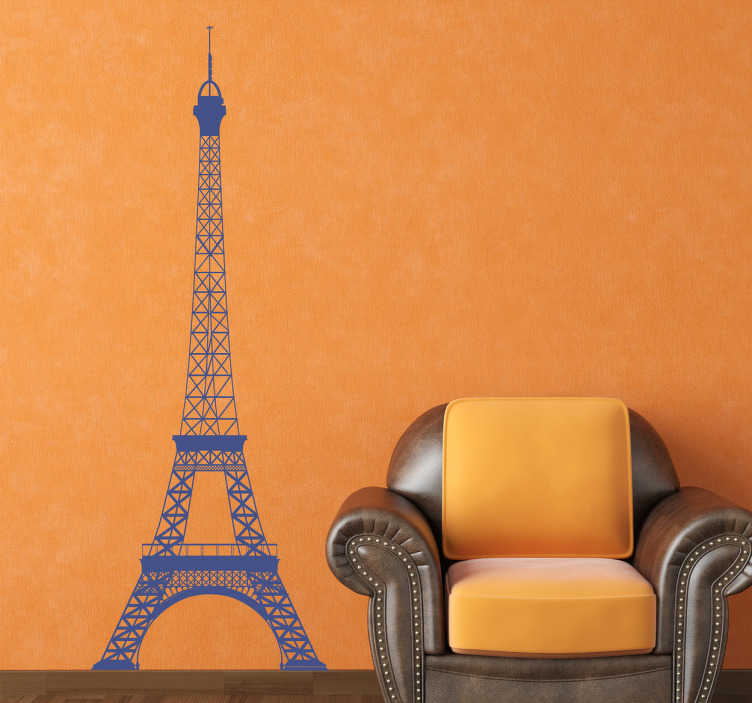 TenVinilo. Vinilo decorativo Torre Eiffel perfil. Silueta adhesiva del famoso y emblemático monumento parisino situado en los Campos Elíseos.