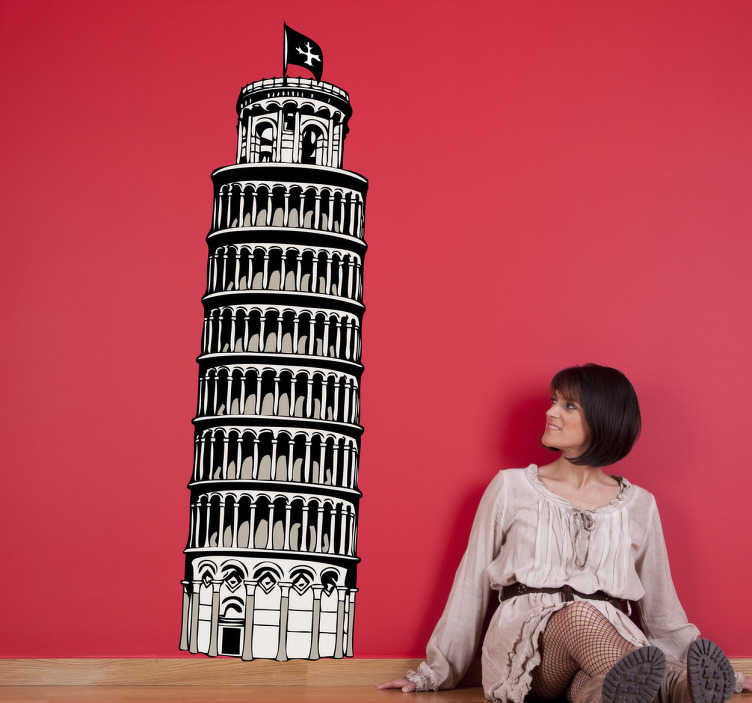 TenStickers. Sticker tour de Pise. Stickers mural représentant la Tour de Pise en Italie.Super idée déco pour la chambre à coucher.