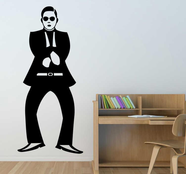 TenStickers. Sticker psy gangnam style. Stickers mural représentant Psy, chanteur coréen effectuant la chorégraphie de son titre à succès mondial Gangnam Style.