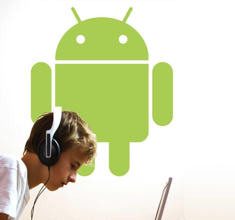 TenVinilo. Vinilo decorativo logo android. Si eres fan de los productos de este sistema operativo hazte con el adhesivo de su característico robot.