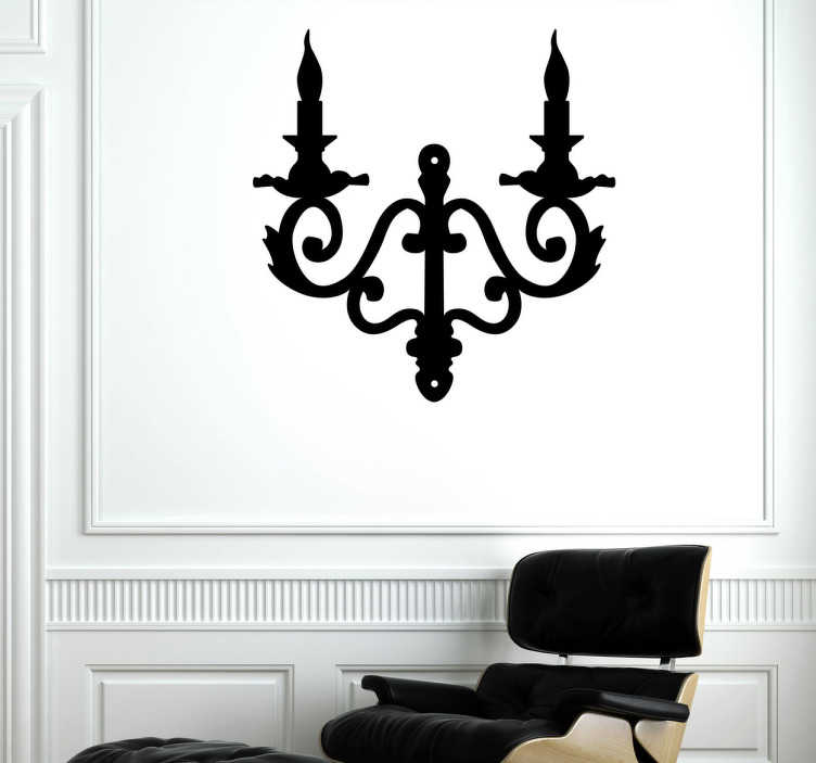 TenStickers. Adesivo murale candelabro parete. Sticker decorativo che raffigura un elegante portacandele d'altri tempi. Una decorazione ideale per le pareti del soggiorno.
