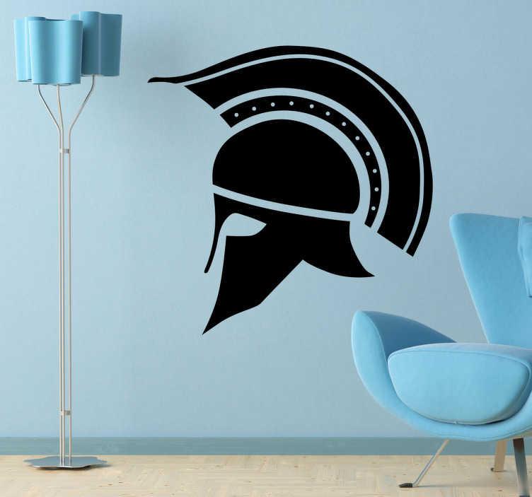 TenStickers. 깃털 장식 코린트 헬멧. 고린도에 속한 역사적인 헬멧의 장식 스티커. 고대 그리스의 전투를 나타내는 환상적인 상징.