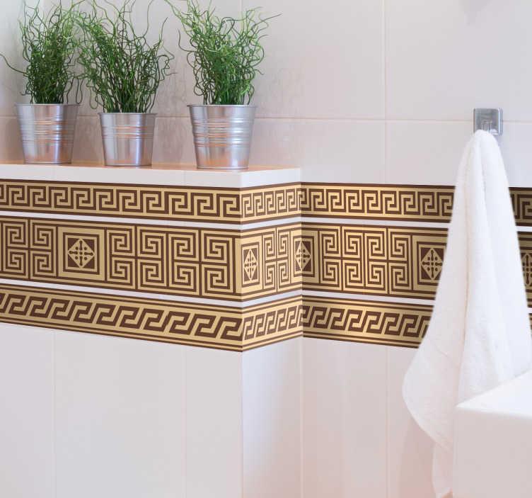 TENSTICKERS. 古典的なギリシャのボーダーステッカー. 古代ギリシャのテーマであなたの家を飾るのに理想的な詳細なパターンのボーダーステッカー。