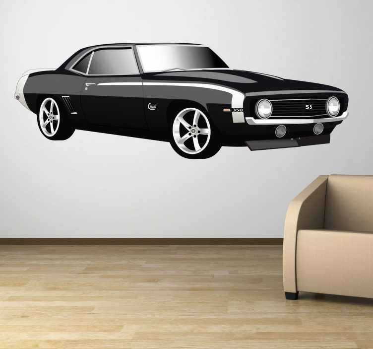 TenVinilo. Vinilo decorativo Chevrolet camaro. Ilustración en adhesivo de un fantástico coche americano clásico de color negro. Vinilos de coches para aficionados al motor.