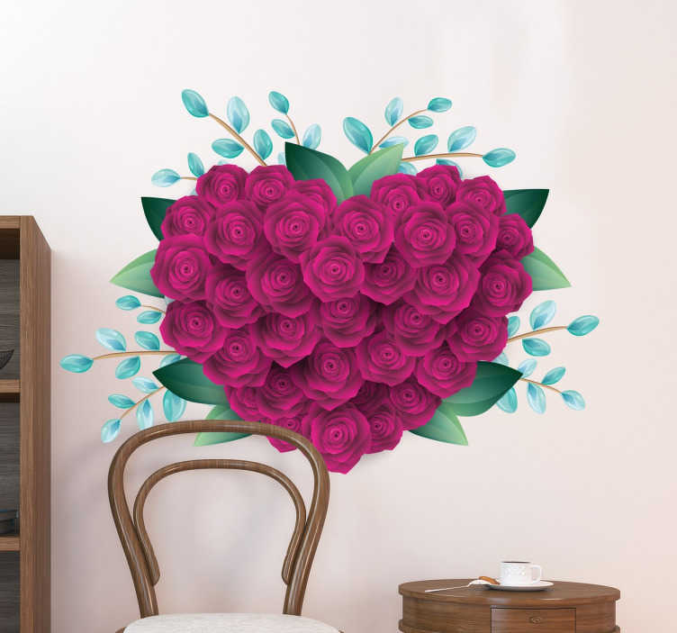 TenStickers. Autocolantes do dia de S. Valentim Rosas cerradas. Maravilhoso vinil decorativo de S Valentimcom imagem de um lindo ramo de rosas em forma de coração, ideal para decorar a sala.