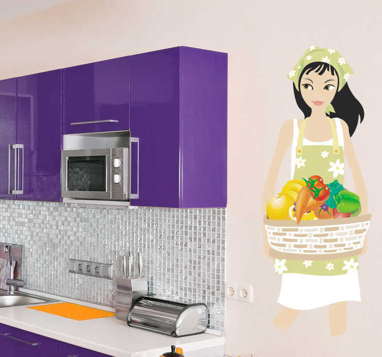 TenStickers. Naklejka kobieta z warzywami. Naklejka do kuchni przedstawiającą kobietę w fartuszku trzymającą kosz pełen pięknie i zdrowo wyglądających warzyw.