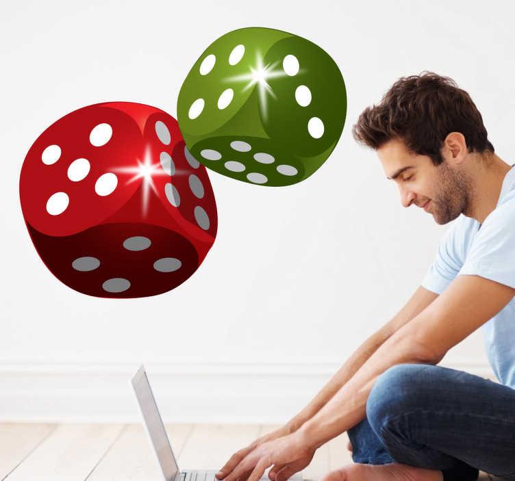 TenVinilo. Vinilo decorativo dados. Adhesivo decorativo de dos cubos, uno rojo y otro verde. La suerte está echada. Hazte con estos dados para personalizar tus habitaciones y las paredes.