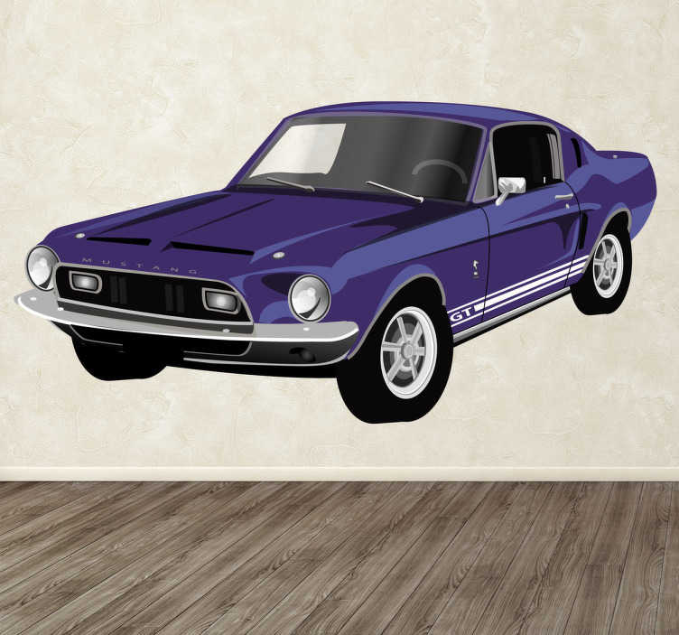 TenStickers. Ford Mustang Decorative Sticker. Decorative sticker of the classic North American car. The famous ford mustang with its striking appearance, windows and windshields.