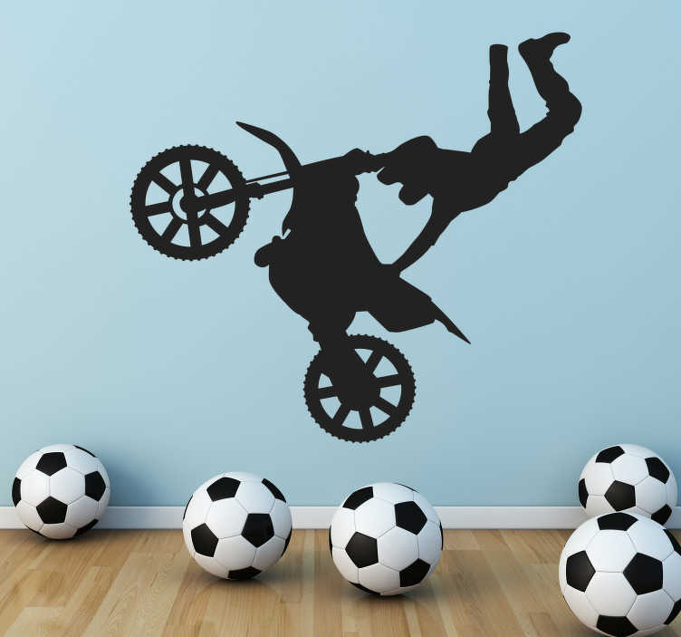 TenStickers. Motocross Jump Wall Sticker. Wall Stickers - Silhouette illustration of a motocross biker doing an acrobatic jump. Decals made from high quality vinyl, easy to apply and remove.