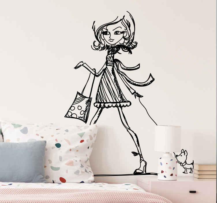 TenStickers. Autocollant mural shopping chiwawa. Stickers décoratif représentant une femme apprêtée : talons hauts, jupe... accompagnée de son petit chien.Jolie idée déco pour les murs de votre intérieur de façon simple et élégante.