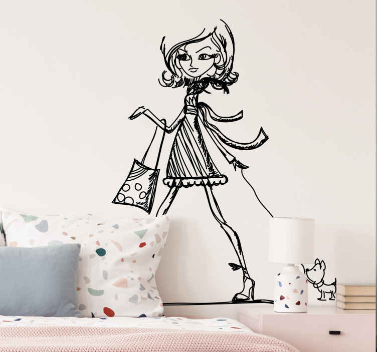TenStickers. Posh Girl Sketch Wall Sticker. A monochrome sketch of a stylish looking girl walking her miniature dog.