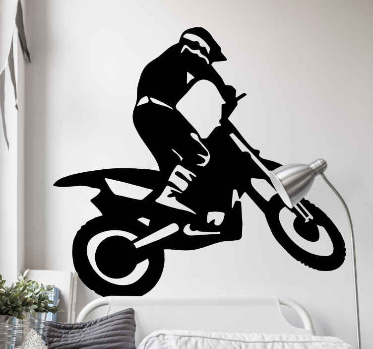 TenStickers. Motocross Wall Sticker. Room Stickers - Illustration of a motocross athlete. Off cross motorcycling at its best.
