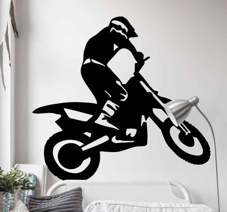 TenStickers. Sticker silhouette crossmotor. Deze sticker omtrent een persoon die een sprong maakt op een crossmotor. Ideaal voor elke fan van extreme sporten.