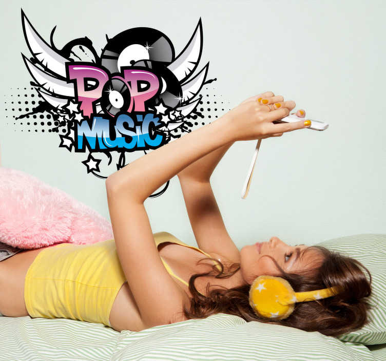 TenStickers. Pop music logo. Voor de pop muziek liefhebbers! Muursticker met de woorden pop music! Leuk voor tussen als je posters van je favoriete artiesten en bands.