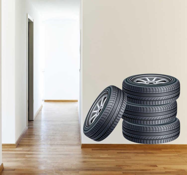 TenStickers. 누적 된 타이어 벽 스티커. 차고 벽 스티커 - 누적 된 타이어 스티커! 차고에 고객을 유인하십시오. 우리 데칼은 고품질의 거품 방지 비닐로 만들어졌으며 적용하기 쉽습니다.