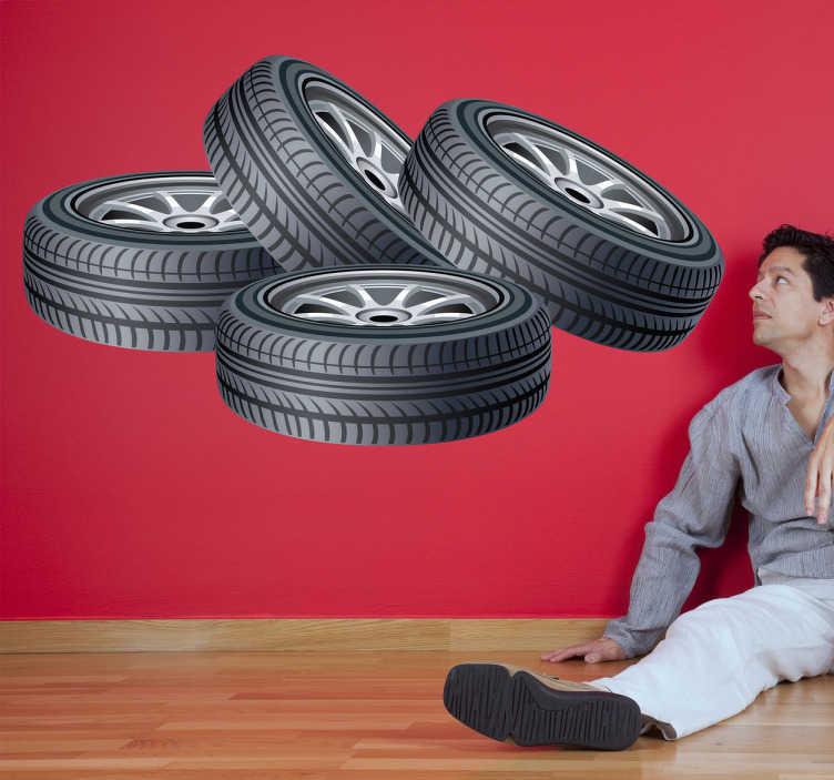 TenVinilo. Vinilo decorativo ruedas. Adhesivo de cuatro neumáticos apilados en el suelo para los aficionados a la mecánica.