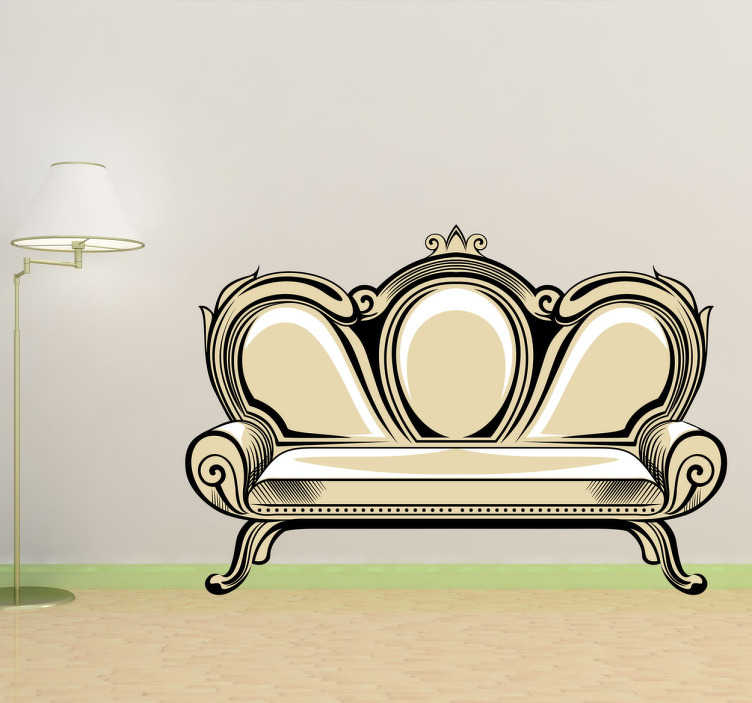 TenStickers. Vintage Sofa Retro Decal. Obtain an elegant atmosphere by decorating your walls with this vinyl sticker.
