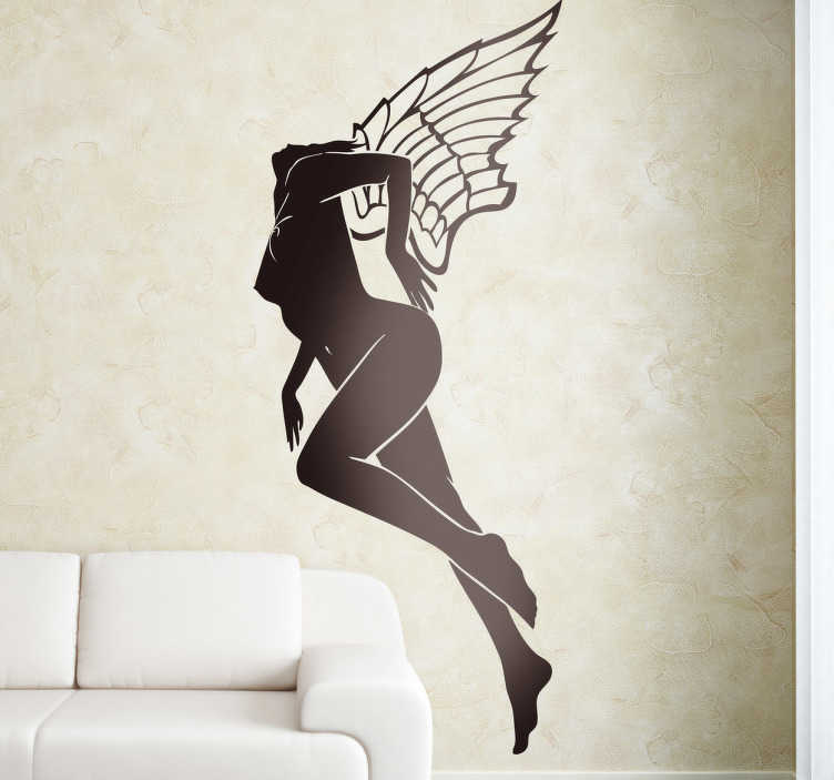 TenStickers. Vinil decorativo anjo desnuda. Vinil decorativo de uma silhueta de um anjo alado sem roupa que voa de forma sensual. Adesivo de parede para decoração de interiores.
