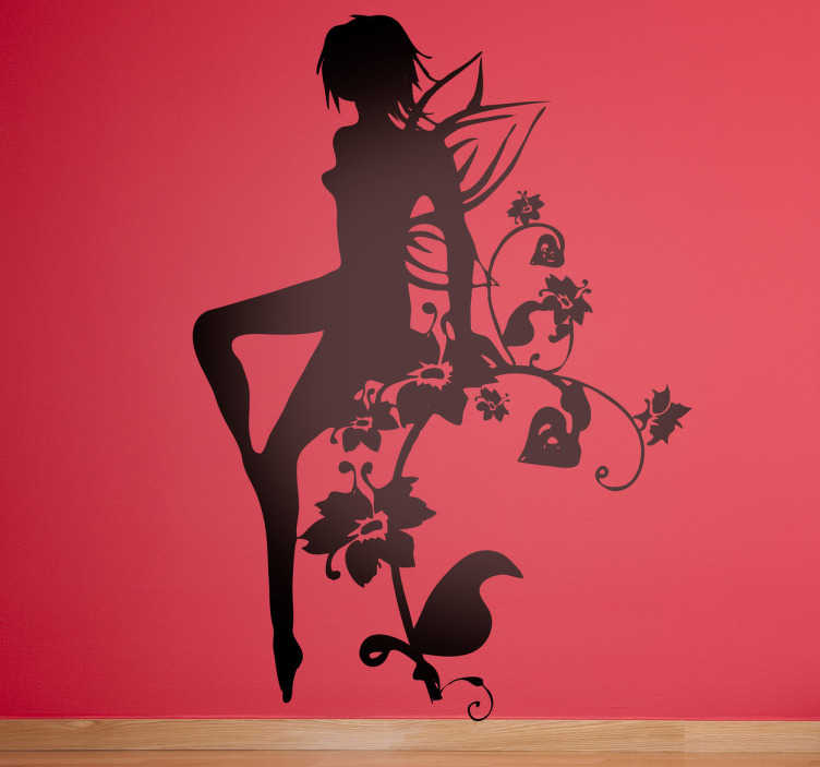 TenStickers. Silhouette Flower Fairy Decal. Decals - Silhouette illustration of a fairy with small wings sitting on a floral vine. An elegant feature great for adding a touch of magic to a room.