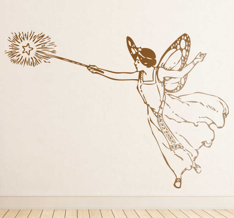 TenStickers. Naklejka czarująca wróżka. Stwórz magiczny wystrój w pokoju dziecięcym dzięki naszej naklejce dekoracyjnej. Obrazek przedstawia wróżkę w trakcie czarowania.