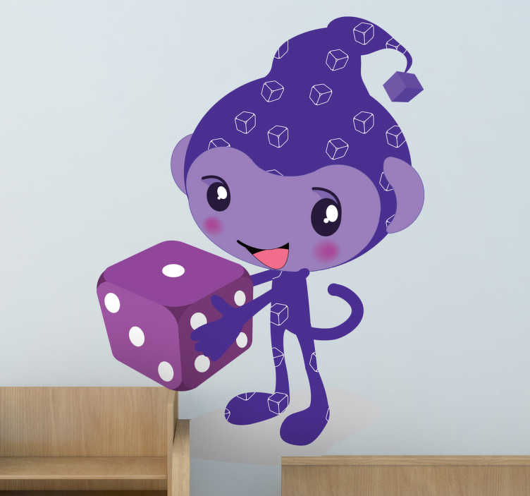 TenStickers. Purple Elf with Dice Kids Stickers. This wall decal of a friendly elf with a dice is ideal for environments with children. Brilliant design from our collection of purple wall stickers.