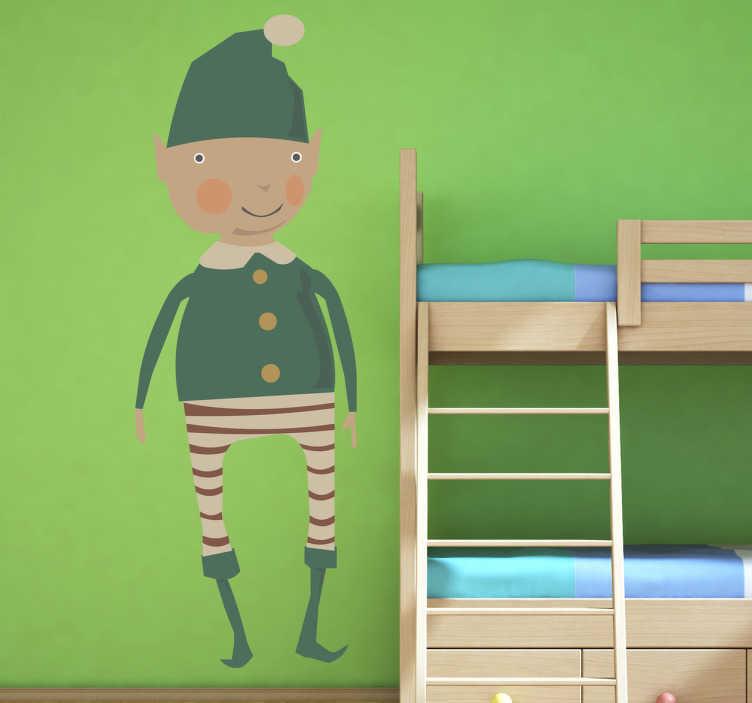 TenStickers. Sticker kinderen elf kerst. Zijn uw kinderen ook zo gek op kerstmis? Dan personaliseer hun kamer met de helper van de kerstman, een elf!