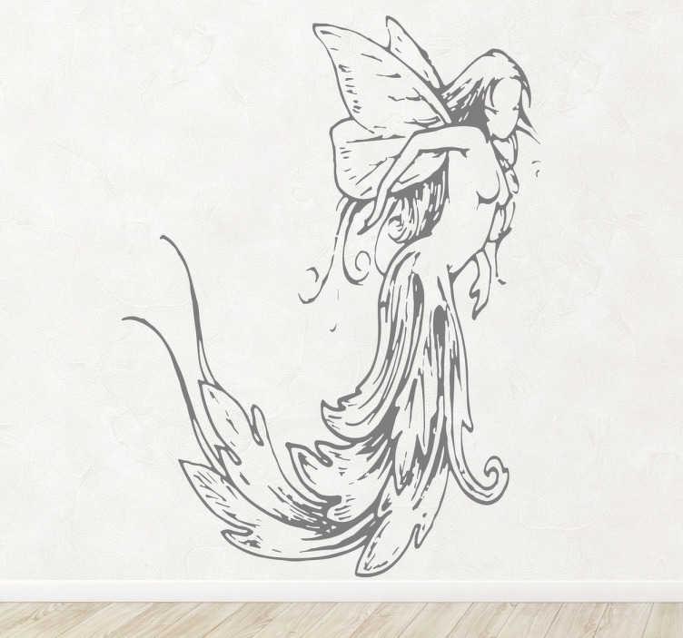 TenStickers. Vinil decorativo ilustração fada clássica. Adesivo de parede de corte antigo de um ser lendário del bosque, a fada. Adesivo de parede para decoração de interiores.