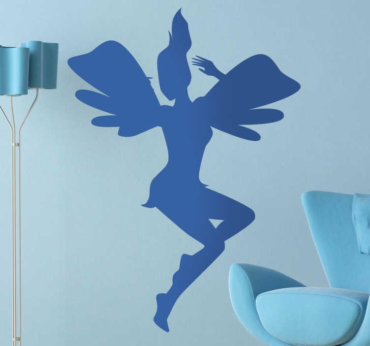 TenStickers. Sticker vliegende fee. Een leuke muursticker van een vliegende fee met grote vleugels. Bepaal zelf de gewenste kleur en grootte voor deze wanddecoratie.