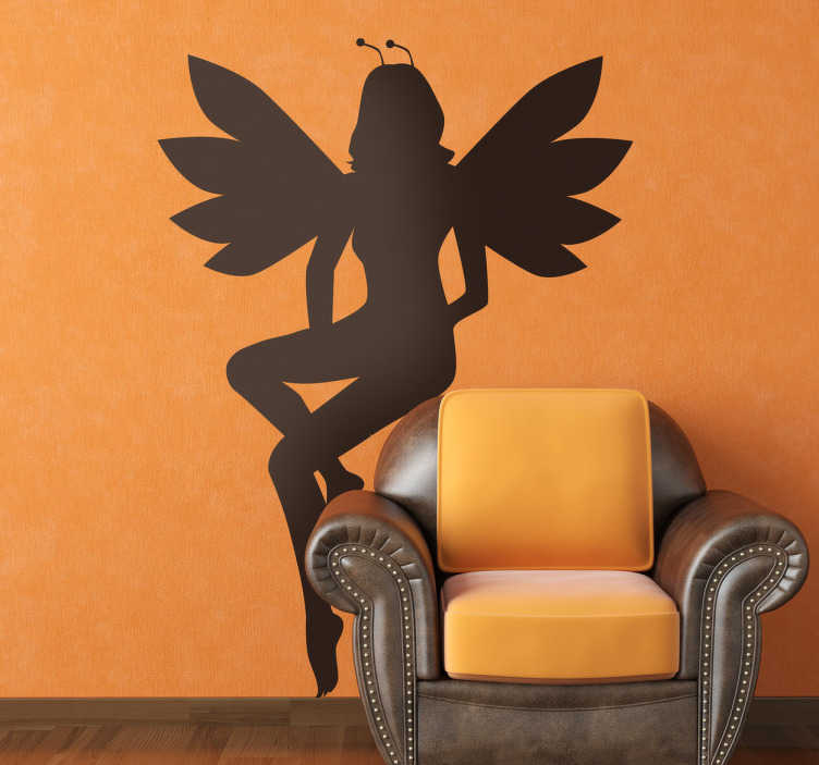 TenStickers. Kids Young Fairy Wall Sticker. Kids Wall Stickers - Elegant illustration of a fairy with symmetrical wings. Ideal for decorating areas for children.