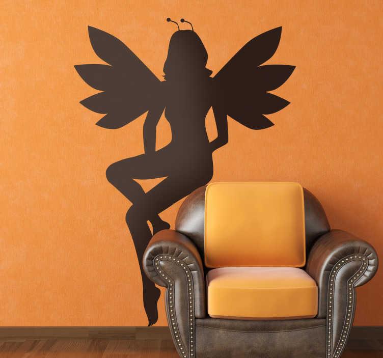 TenStickers. Sticker silhouette jeune fée. Stickers représentant un joli être des bois.Utilisez ce stickers pour personnaliser des objets ou les murs de la chambre d'enfant.