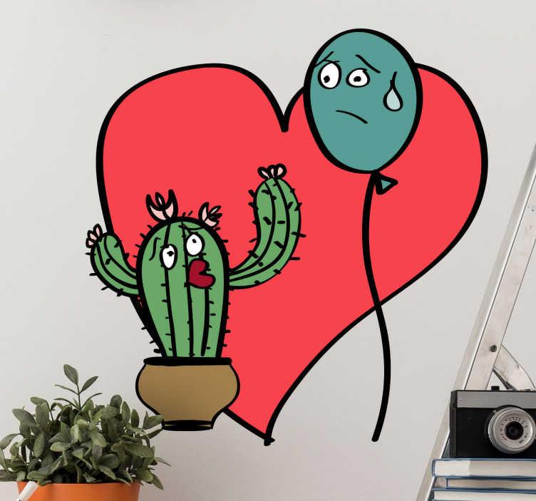 TenStickers. Adesivo murale amore impossibile. Stencil murale sull'amore struggente tra un cactus e un palloncino. Adesivo piante ironico per creare un atmosfera divertente a casa tua