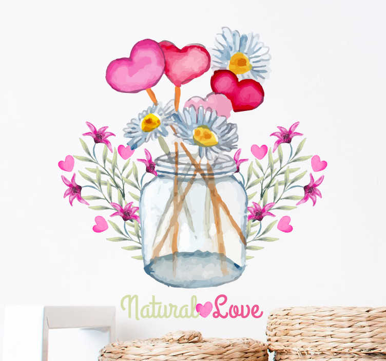 "TenStickers. Sticker decorativo natural love. Adesivo murale che raffigura delle margherite sorridenti i cui gambi formano un intricato labirinto e la scritta ""Natural Love""."