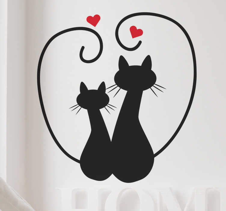 TenStickers. Muursticker verliefde zwarten katten. Muursticker van twee verliefde zwarten katten, met hun staart boven hun kopjes in de vorm van een hartje.