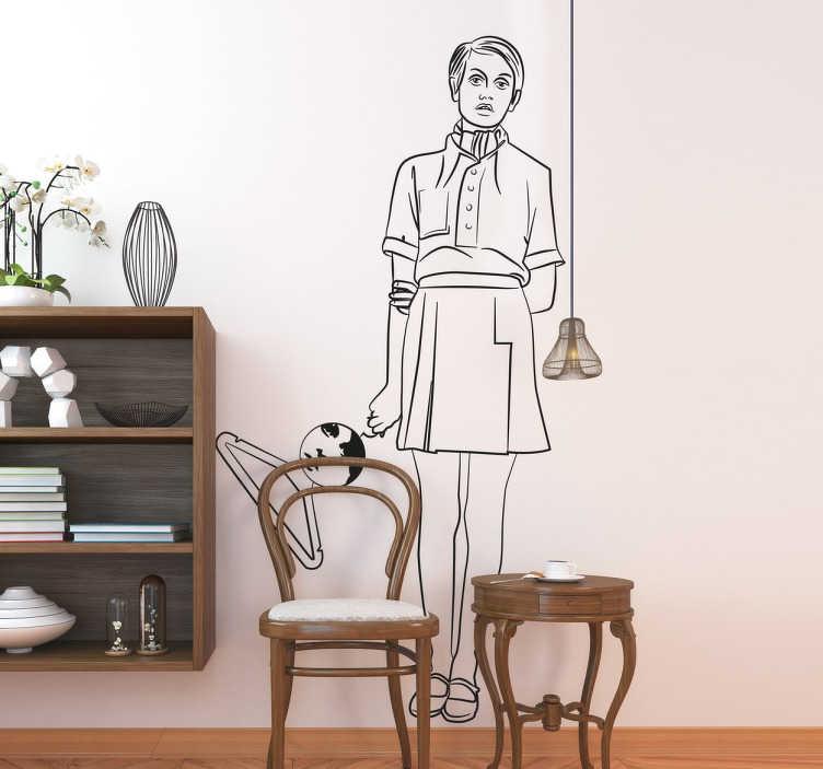 Vinilo dibujo línea fina joven minifalda