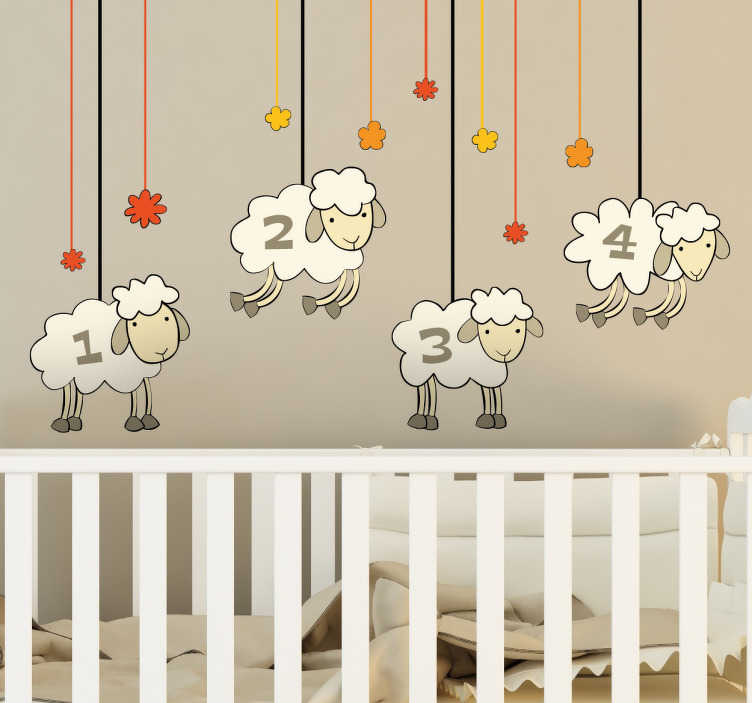 TenStickers. Sticker moutons comptés. Autocollant Mural pour les enfants où ils peuvent compter les moutons mignon, parfait pour une chambre d'enfant ou de bébé.