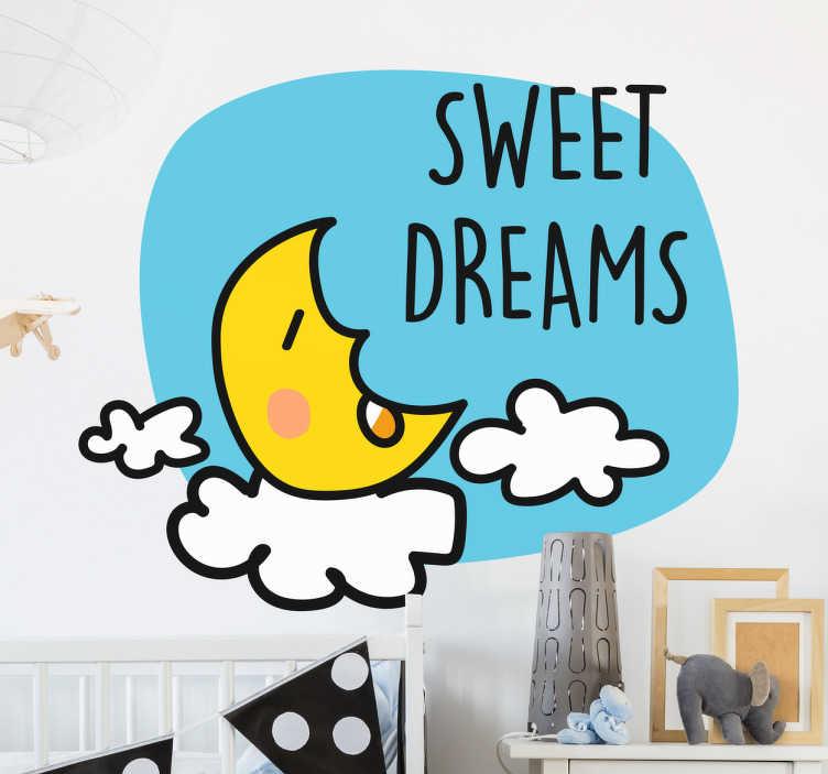 """TenStickers. Sticker kinderkamer slapen maan. Een muursticker van een jong meisje dat aan het slapen is op de maan met hierbij de leuke Engelse tekst """"Sweet Dreams""""."""