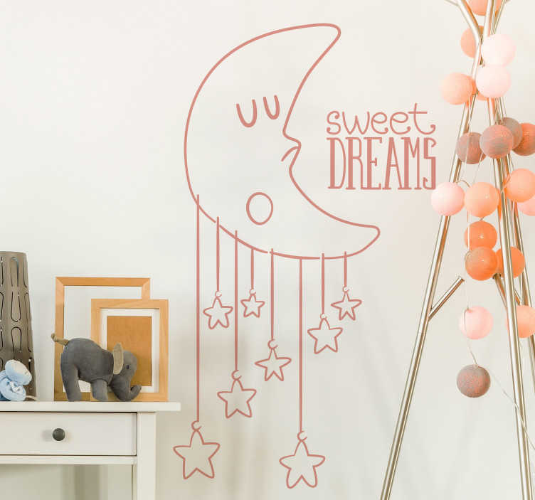"TenStickers. Sweet Dreams Kids Decal. A fantastic moon wall sticker illustrating a sleeping moon character with stars hanging below him and the words ""sweet dreams"" next to him. Brilliant kids wall sticker to decorate their bedroom. Let your child sleep peacefully with this lovely design that is available in various colours and sizes!"