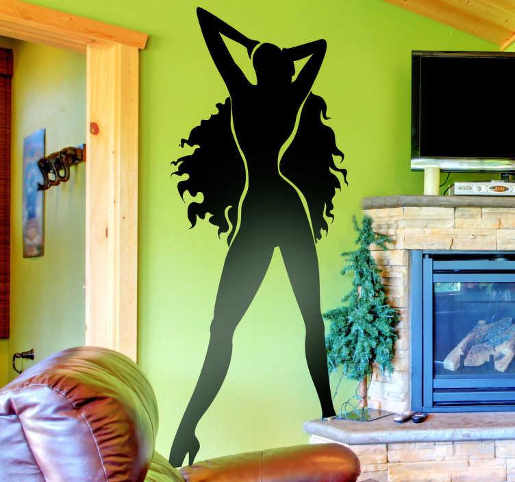 TenStickers. Sticker mural femme sexy. Stickers décoratif représentant une femme aux cheveux longs et volumineux.