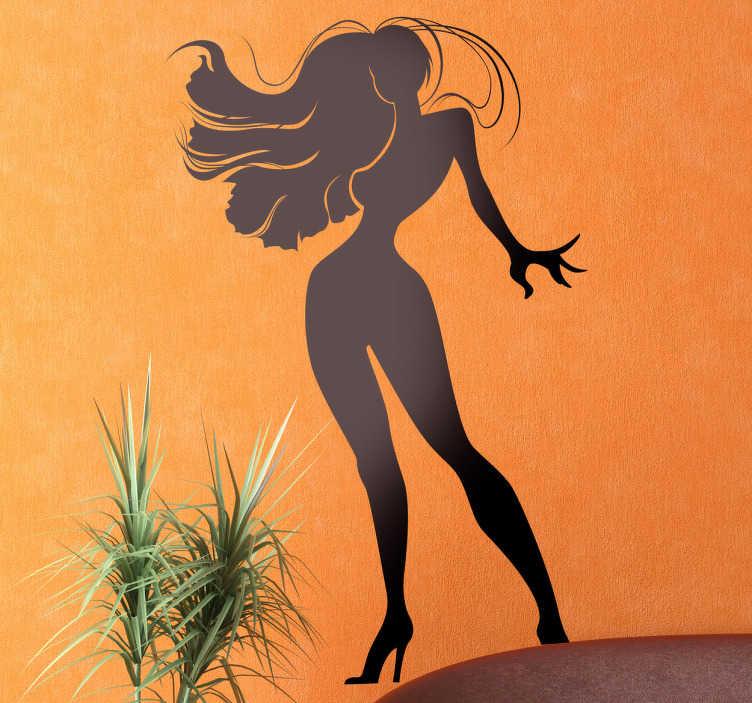 TenStickers. Sexy Pose Aufkleber. Dekorieren Sie Ihr Schlafzimmer mit diesem erotischen Wandtattoo einer Silhoulette einer nackten Frau mit wehendem Haar und provozierender Pose.